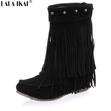 Plus Size 10 11 12 Women Fringe Boots Warm Fleece Tassel Winter Boots Suede Height Increasing Shoes Woman Solid Boots XWN0547-5