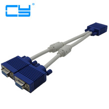 high quality 1 computer to dual 2 monitor vga splitter cable video Y splitter 15 pin two ports vga male to female Cable 25cm(China)