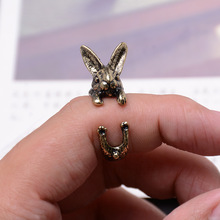 10pcs Wholesale Vintage Fashion Bunny Ring Hippie Mid Finger Rabbit Ring Punk Chic Animal Warp Rings For Men Women Gift Jewelry