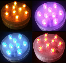 Remote control submersible 9 led base light assorted colour Waterproof Candle Lamp Party Vase Decor RC 80pcs/Carton-Multicolor