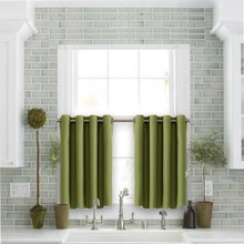 Thermal Insulated Blackout Half Window / Tier / Valance Grommet Curtain For Kitchen