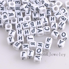 Mixed white Acrylic Russian Alphabet/Letter Cube Pony Beads For Jewelry Making 6x6mm 400PCs YKL0512