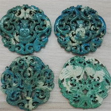 charms handmade material Craved vintage Classical Traditional Chinese Ancient Style Pattern green yellow gem stone pendants
