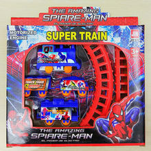 2017 girl boy children's day educational presents spider-man thomas train set baby's electric small train vehicle slot toys gift(China)