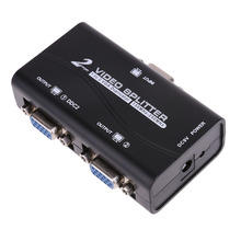 New 1 to 2 250MHz HD VGA UHD Signal Splitter Video Duplicator Amplifier Box Adapter for Laptop PC High Quality