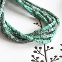 natural green stone cubes 4x4mm loose bead DIY bracelet necklace earrings jewelry making craft findings handmade material