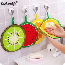 4pcs/lot Fruit hand towel dish dry cloth candy color Cartoon design Pattern Absorbent Kitchen with Hanging Bathroom Use DF