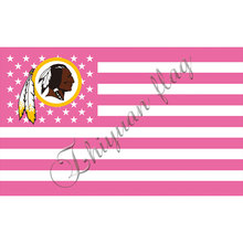 3ft x 5ft digital printed pink stripe banner Polyester hand flags Washington Redskins banner(China)