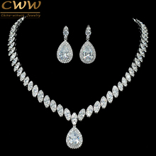 CWWZircons High Quality Cubic Zirconia Wedding Necklace And Earrings Luxury Crystal Bridal Jewelry Sets For Bridesmaids T109(China)