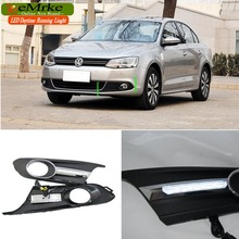 eeMrke LED Daytime Running Lights For VW Volkswagen Jetta A6, Typ 1B; 2011- present White DRL Light Fog Lamp Cover Kits