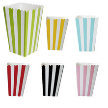 Retail 12pcs Striped Popcorn Boxes Bags Kids Party Treat Boxes Wedding Birthday Decorations Scatole Popcorn