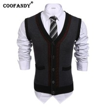 COOFANDY 2017 New Arrivals Hot Men V-Neck Patchwork Button-Front Cable Knit Slim Fit Sweater Vest w/ Pocket(China)