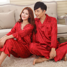 Faux silk mens pajama sets men sleepwear male sleep&lounge Chinese red wedding Pijamas for women couple pajamas female pyjamas(China)