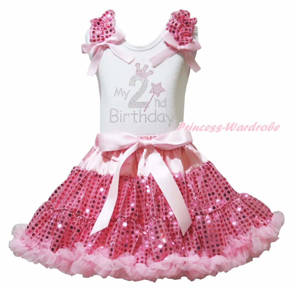 My 2nd 3rd 4th 5th 6th Birthday Dress Shirt Pink Sequins Skirt Girl Clothing 1-8y<br><br>Aliexpress