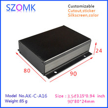 1 piece black diy electrical aluminum enclosure small switch box with anodizing 24x80x90mm(China)