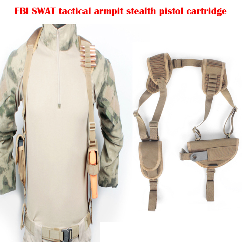 Military Army Tactical Gear 1050D Nylon Armpit Stealth Pistol Cartridges Bag FBI Agents Backpack Voodoo Elastic Ammunition Clip<br>