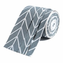 ZERZEEMOOY NEW 7/8Inch 1inch 2inch 7Yard/rolls Gray Line Style Fabric Folding Ribbon Cotton Linen Ribbon Dog Collars Lace
