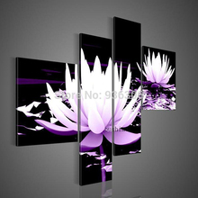Hand-painted Abstract Wall Art Of Home Decor Painting On Canvas Lotus Oil Painting Decor Group Of Black Pictures Modern Flower