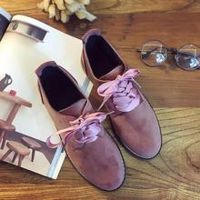 Solid Color Silk Riband Oxford Shoes For Girls Round Toe Suede Leather Women Flats Preppy Femme High Quality Female Mocassin