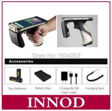 4G memory Handheld android mobile uhf rfid reader 1D 2D barcode scanner for long range epc gen2 asset inventory tags impinj