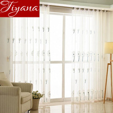 Floral Curtains Embroidered Sheer Voile Window Modern Living Room Bedroom Curtains Tulle White Fabrics Cortinas T&218 #20