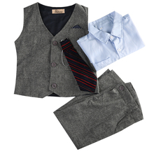 4PC Baby Kids Boys Clothes Infant Toddler Shirt Tops+Pants+Waistcoat Gentleman Suit Party Long Sleeve Fashion Outfits Set