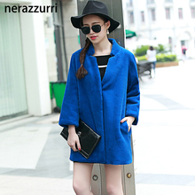 Nerazzurri Women Faux Fur Coat Jacket 2017 V-Neck Blue Long Luxury Cheap Thick Warm Fluffy Artificial Fur Outwear Plush Rabbit