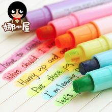 Korea stationery candy color crayon Dry Highlighter jelly pen circle solid marker pen neon pen(China)