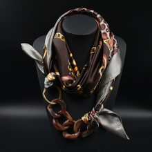 Silk Scarf Acrylic Pendant Multilayer Scarves Pattern Printed Muffler Designer Luxury Brand Scarf 2015 New Women Autumn Fashion