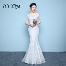 It's YiiYa Off White Red Sales Half Sleeve Boat Neck Wedding Dresses Mermaid Embroidery High Quality Pattern Wedding Gown XXN191