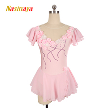 Customized Costume Ice Figure Skating Dress Rhythmic Gymnastics Short Sleeve Adult Child Girl Show Skirt Performance Flower(China)