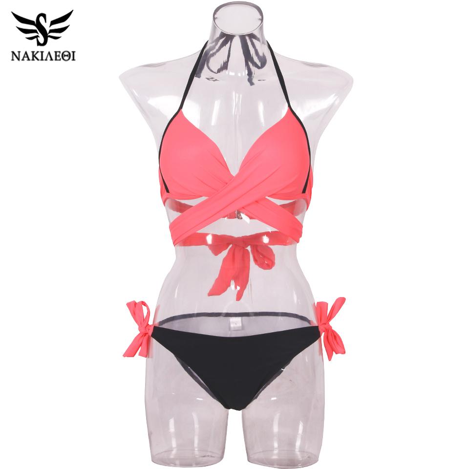 NAKIAEOI 19 Sexy Bikini Women Swimsuit Push Up Swimwear Criss Cross Bandage Halter Bikini Set Beach Bathing Suit Swim Wear XXL 72
