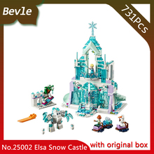 Bevle Store LEPIN 25002 731Pcs wtih original box Moive series Elsa sonw magic castle Model Building Blocks Children Toys 41148
