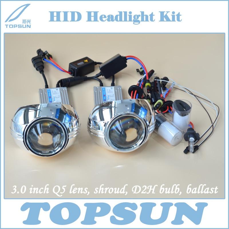 Free Shipping Car Lamp Kit 3.0 inch Original Q5 Bixenon projector lens, 35W Cnlight HID Bulb D2H, Slim Ballast and Lens Cover<br><br>Aliexpress