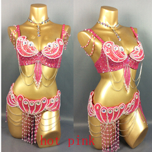 made to measure new belly dance costume set BRA+belt+NECKLACE 3piece/ set ,any size,34/36/38/40/42 B/C/D/DD(China)