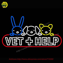 Vet Help Outdoor Neon Sign Handcrafted Bulb GlassTube Club Decorate sign Store Display Tube Glass Neon Art Signs bud light 20x37