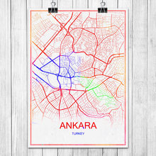 Modern Colorful World City Map Ankara Turkey Print Poster Abstract Coated Paper Bar Pub Living Room Home Decoration Wall Sticker
