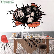 YunXi 3D Coral Orangutan Sticker Living Room Corridor PVC Removable Background Decorative Wall Sticker Painting 87*59CM(China)