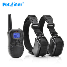 Petrainer 998DR-2BL Rechargeable Vibration Elecetric Shock Beep Dog Training Collar With blue back light Screen For 2 Dogs(China)