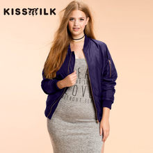 plus size western style fashion loose solid color zipper long sleeve 3XL-6XL  large size blue woman s Casual jacket 98f9310d1317