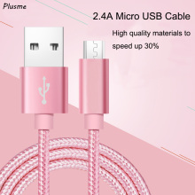 2.4A Micro USB Cable Soft Braided Wire Aluminum Alloy Casing Fast Charging Data Sync Micro USB Cable for Samsung S8 Huawei Nokia