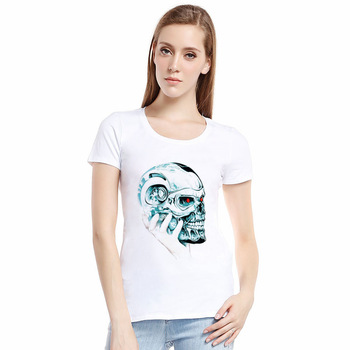 Summer T-shirt Women Casual Lady Top Tees 2017New Europe Female Brand Clothing T Shirt Printed Skeleton skull Skull tshirts tops