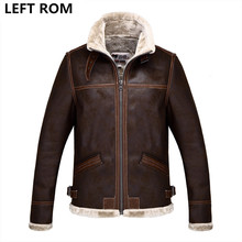 LEFT ROM 2017air force flight jacket fur collar genuine leather jacket men black brown sheepskin coat winter bomber jacket male(China)