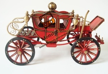 Horse Drawn Wheeled Vehicle Palace Retro Classic Carriage 100% Handmade Iron Sheet Model 1:12 Metal Carriage Model Decoration