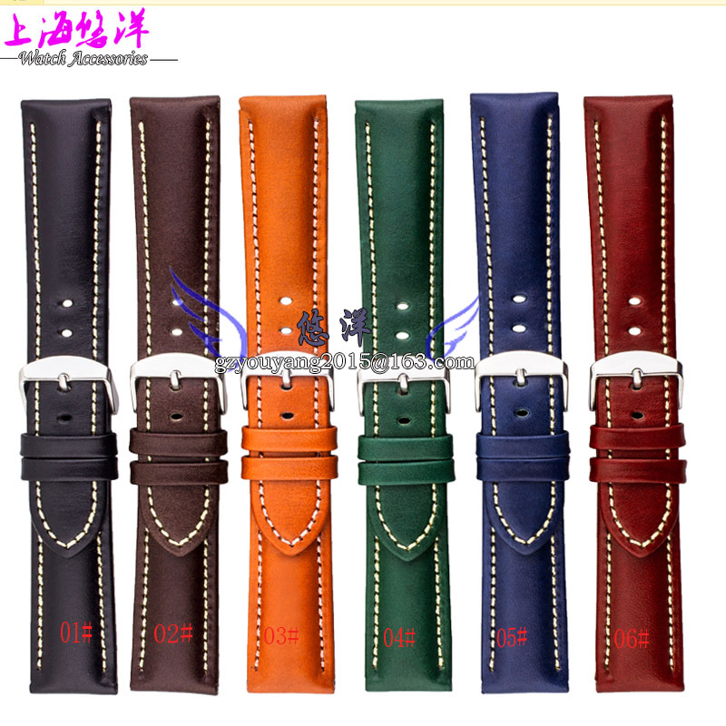 Band band fit men and women Cowhide leather strap 6 color selected 18 | | 20 22 mm<br>