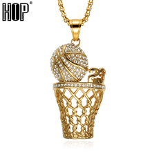 HIP Hop Iced Out Crystal Number 23 Basketball Pendants Necklaces Bling Gold Stainless Steel Sports Necklace for Men Jewelry(China)