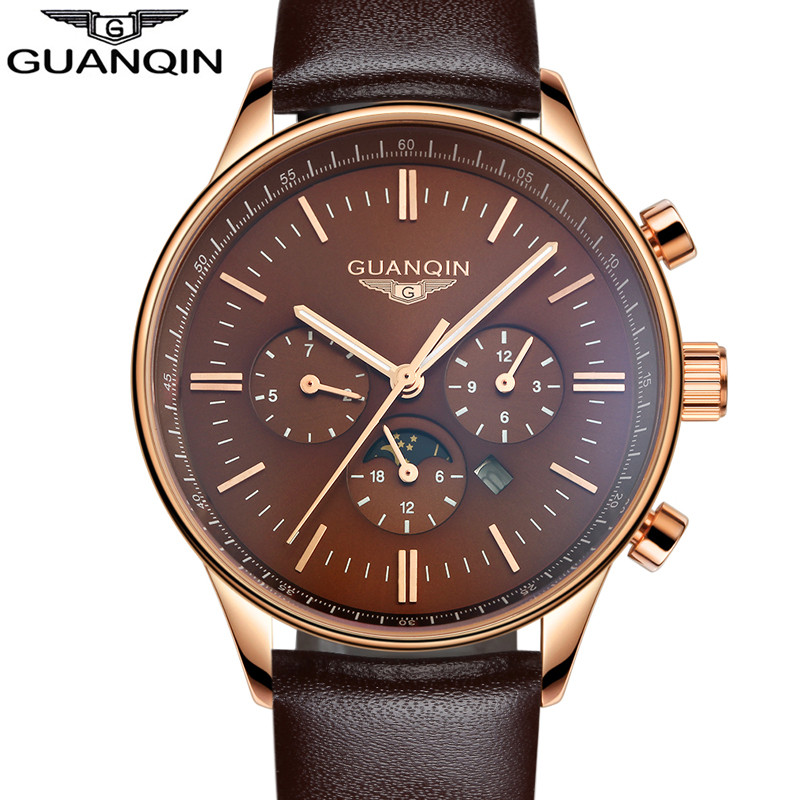 Guanqin Mens Watches Top Brand Luxury GUANQIN New Fashion Men Moon phas Quartz Watch Male Wristwatch guanqin relogio masculino A<br>