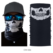 Ghost Skull Head Scarf Neck Warmer Tube Half Face Mask Halloween Balaclava Bandana Headband Military Army Tactical Paintball