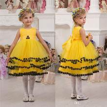 Flower girl dress yellow promotion shop for promotional flower girl black appliques yellow flower girls dresses sleeveless girls party wears knee length pageant ball gowns mightylinksfo