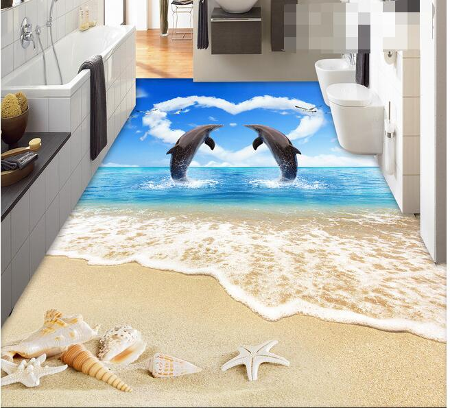 3 d pvc flooring custom wall paper  3 d dolphins lovers sitting room bathroom flooring mural photo wallpaper for walls 3d<br>